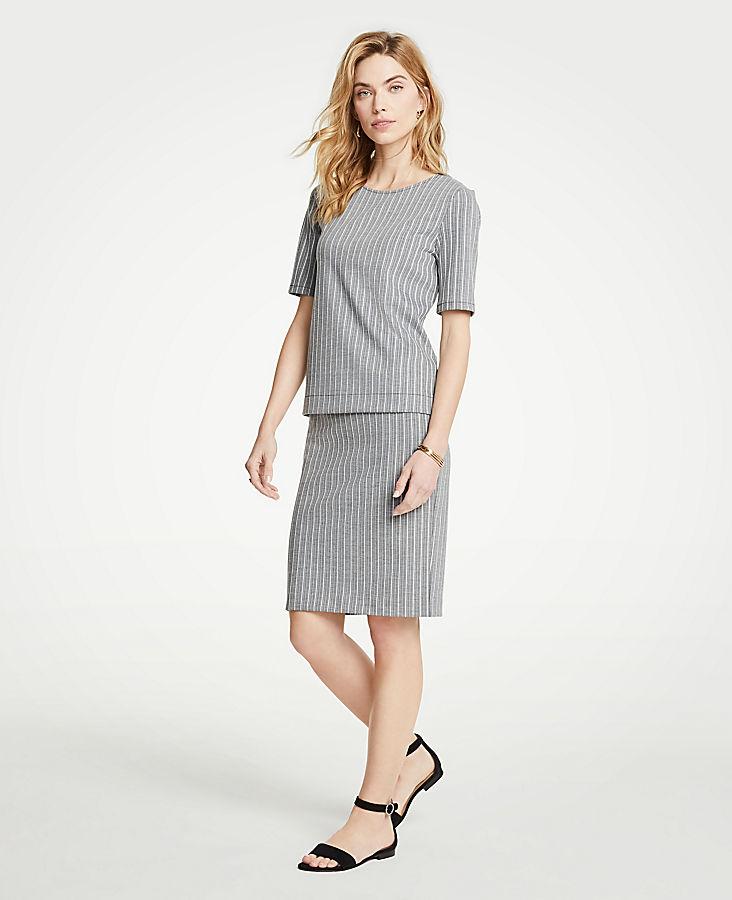 Petite Striped Knit Pencil Skirt