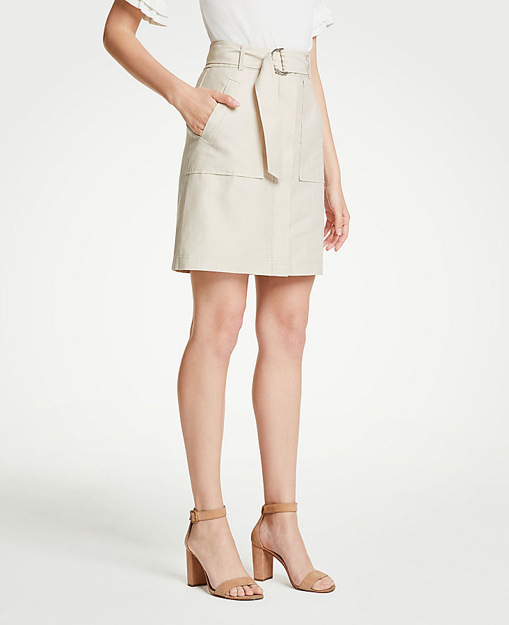 Petite Belted A-Line Skirt