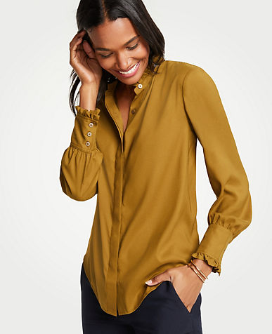 Ruffle Neck Button Down Blouse color Andalucian Olive