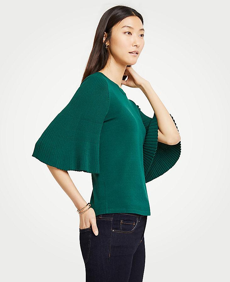 Petite Pleated Sleeve Sweater