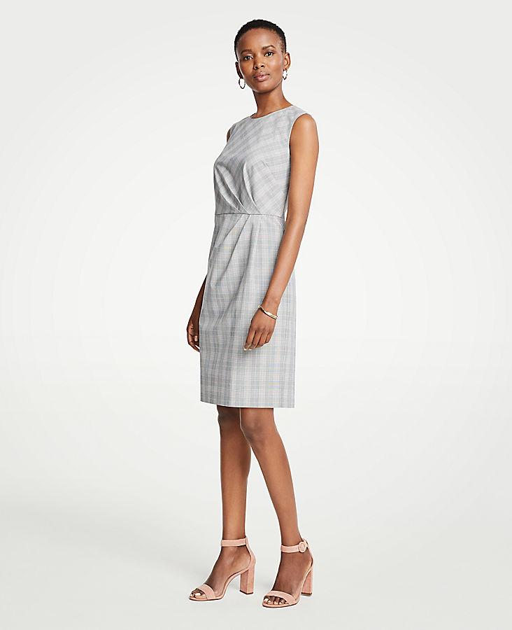 Petite Glen Plaid Ruched Sheath Dress