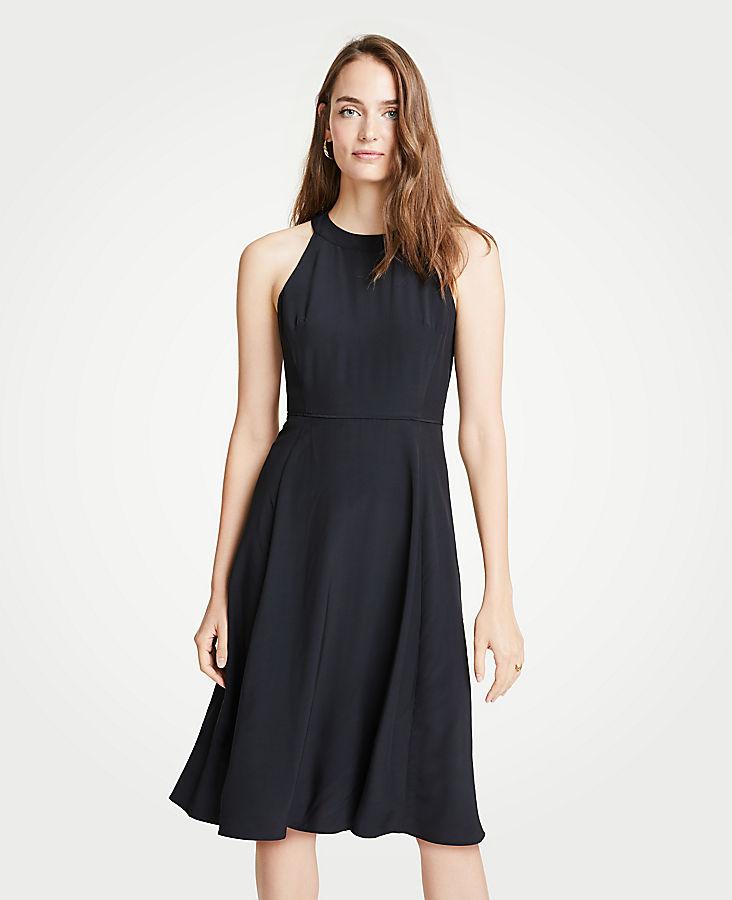 Petite Halter Bow Back Flare Dress