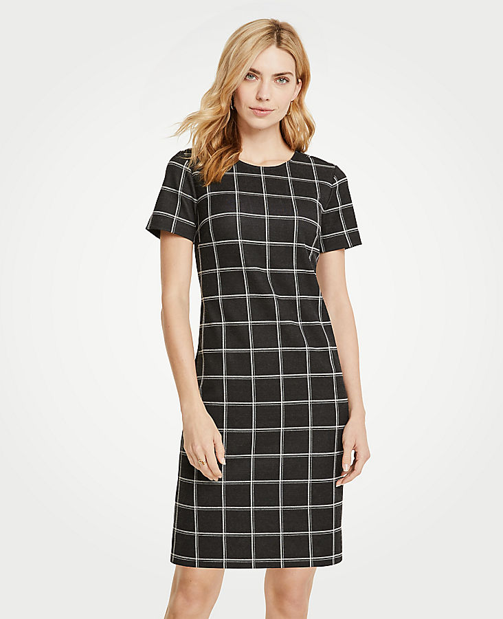 Petite Windowpane T-Shirt Dress