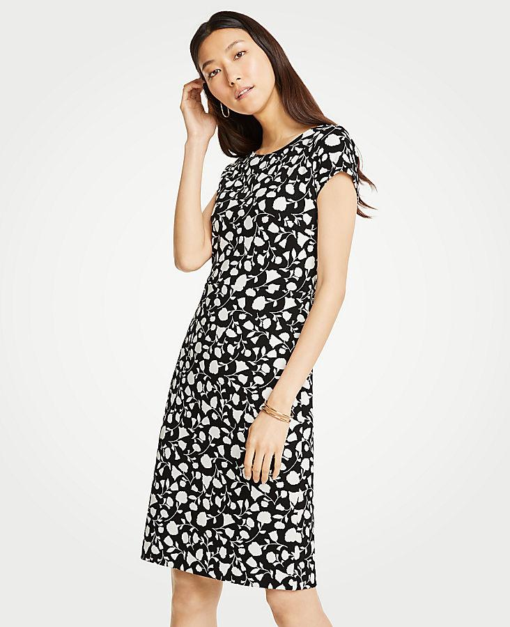 Petite Floral Boatneck Sheath Dress