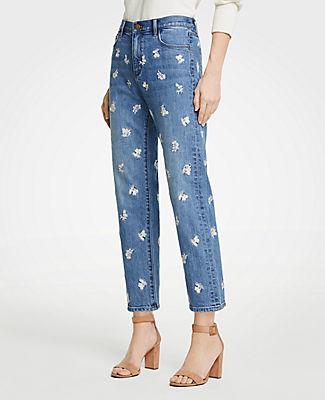 Ann Taylor Tall Floral Embroidered Girlfriend Jeans