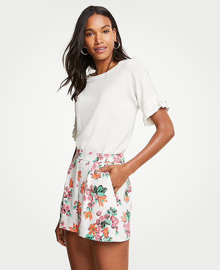 Petite Floral Drapey Shorts