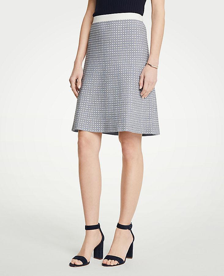 Petite Geo Jacquard Flare Skirt