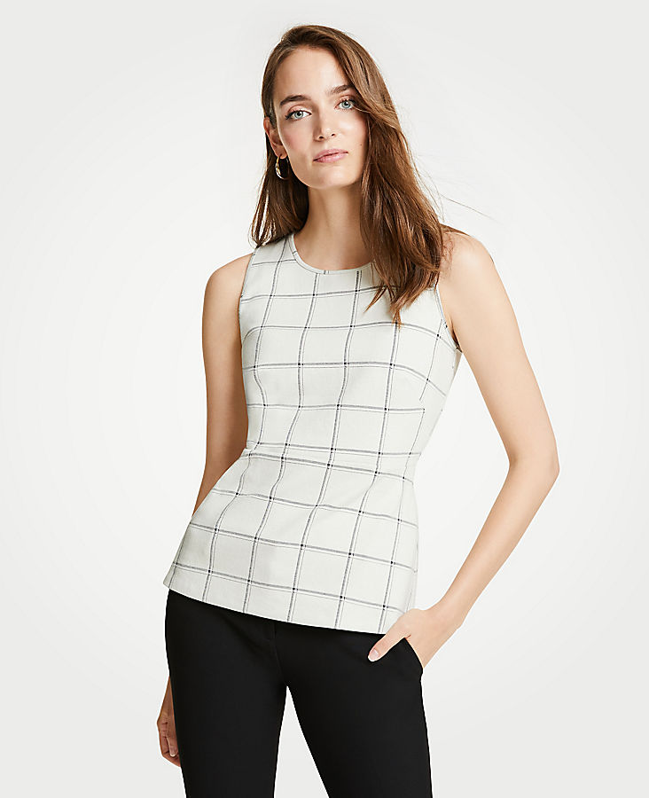 Petite Windowpane Knit Peplum Shell