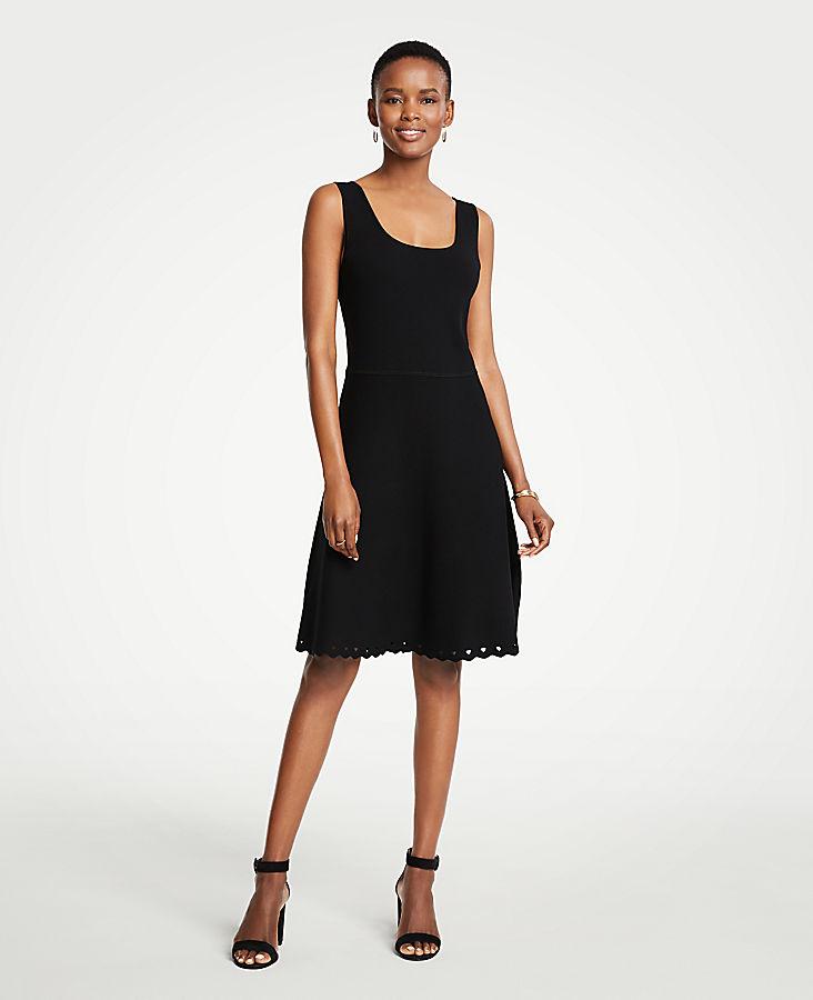 Petite Scalloped Knit Flare Dress