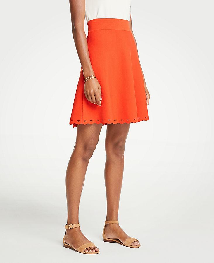 Petite Scalloped Knit Skirt