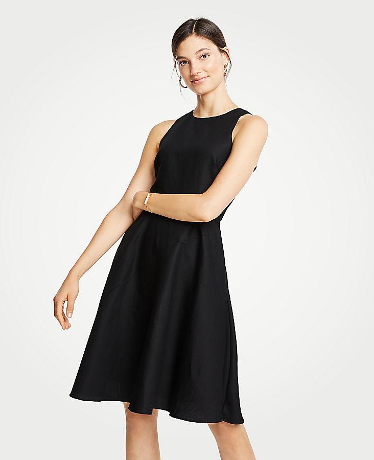 Petite Linen Cotton Flare Dress
