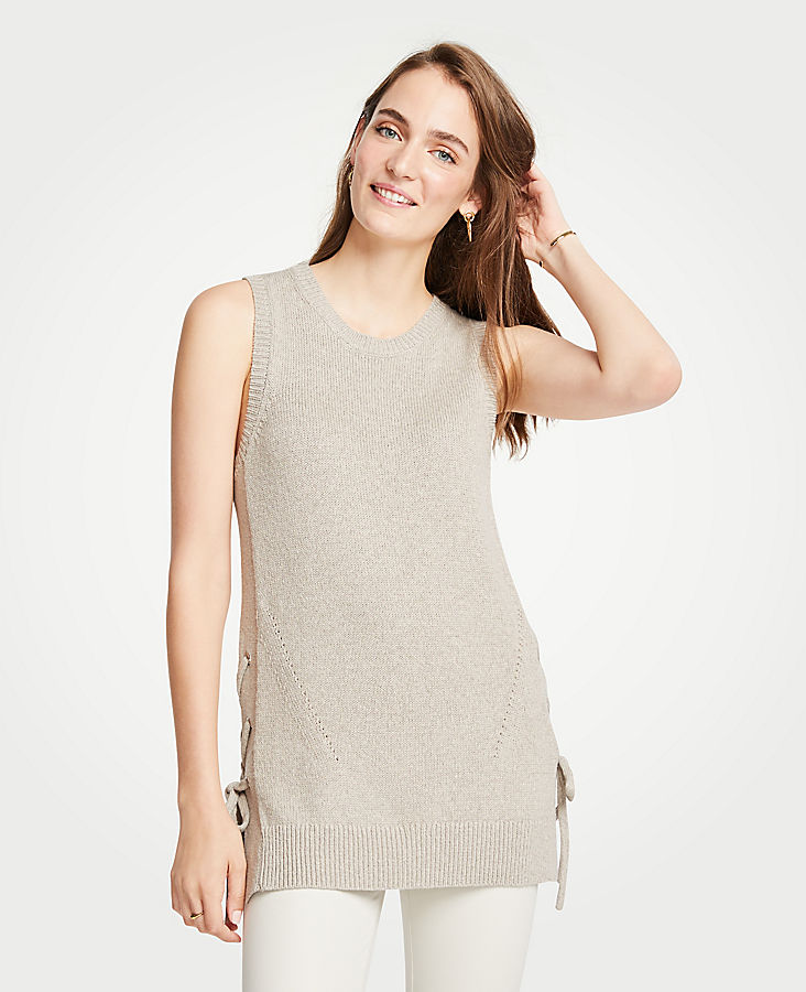 Petite Side Tie Sleeveless Sweater Tunic