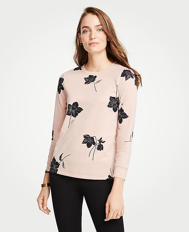 Petite Shimmer Floral Sweatshirt