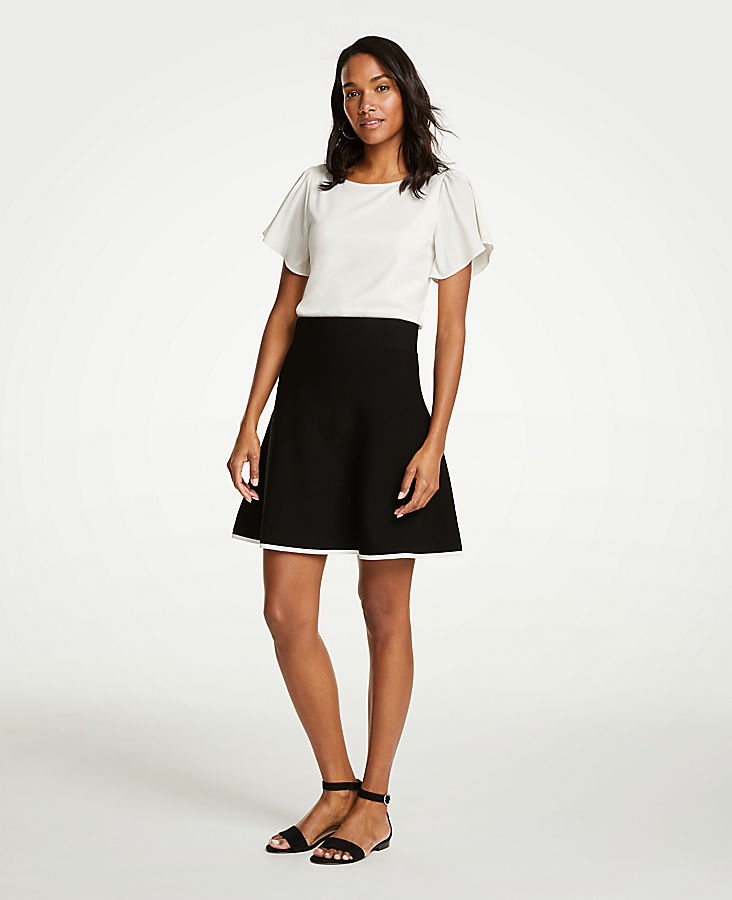 Petite Tipped Flare Sweater Skirt