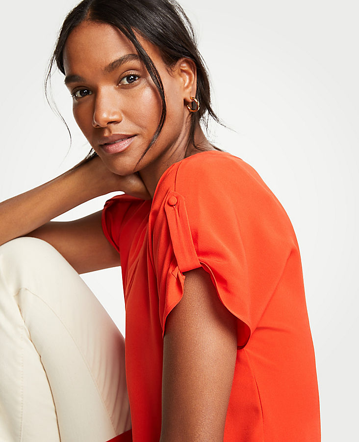Petite Tab Sleeve Button Down Top | Tuggl