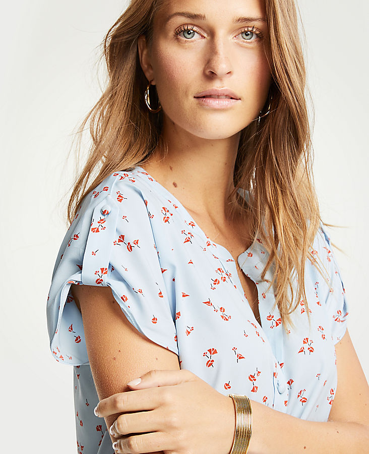 Petite Lily Tab Sleeve Button Down Top | Tuggl