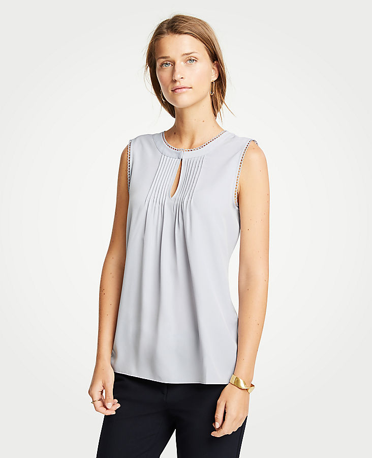 Petite Scalloped Pintucked Shell