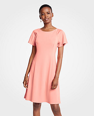 Ann Taylor Petite Short Sleeve Flare Dress 25561913