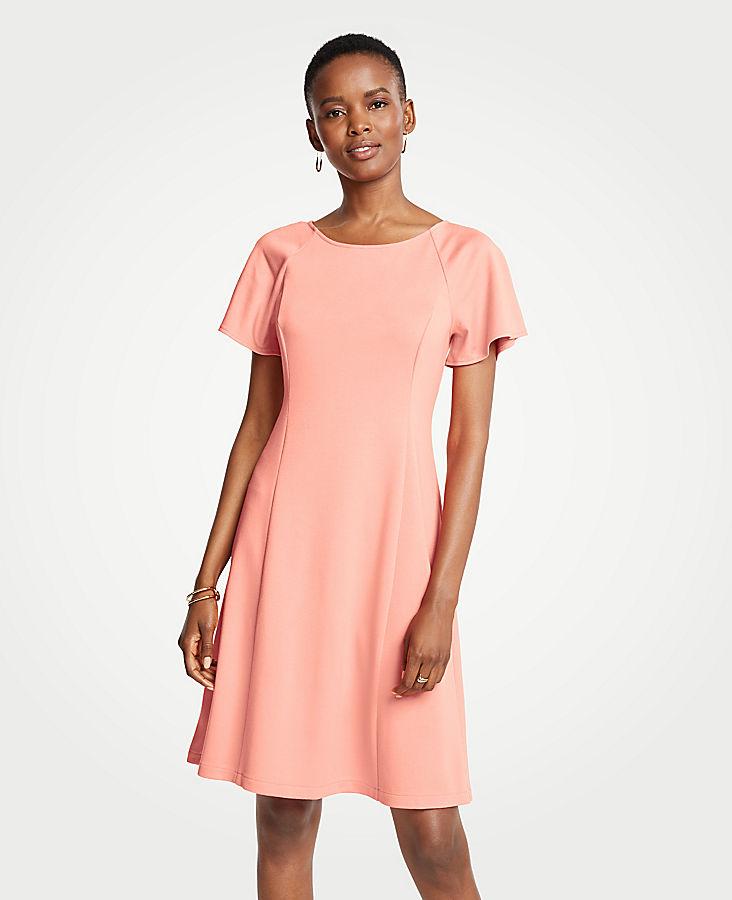 Petite Short Sleeve Flare Dress