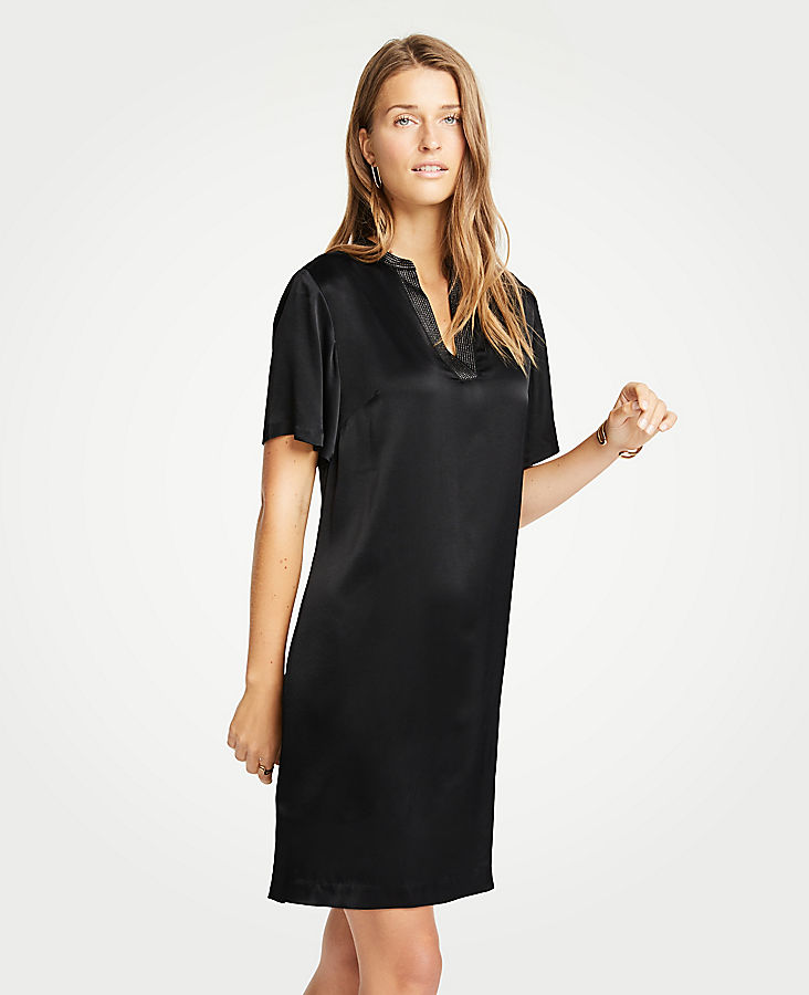 Petite Metallic Split Neck Shift Dress