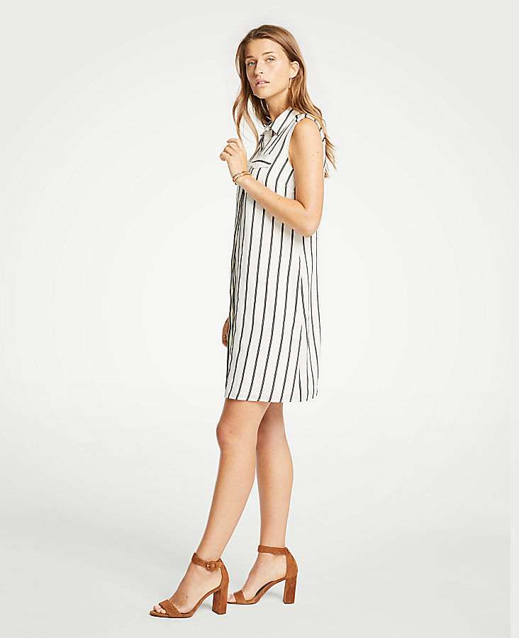 Petite Striped Sleeveless Shirtdress
