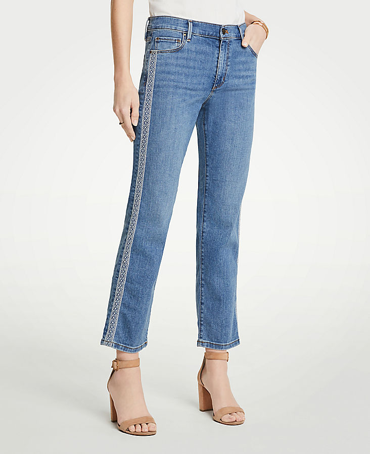 Petite Embroidered Side Stripe Straight Crop Jeans