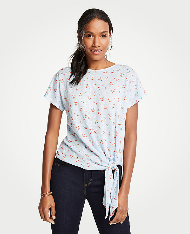 Petite Lily Leaves Linen Tie Front Tee | Tuggl