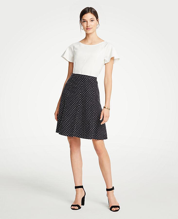 Petite Clip Dot Flare Skirt
