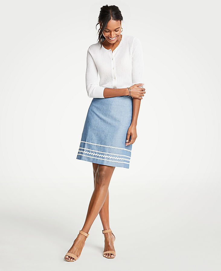 Petite Wavy Trim Chambray Skirt