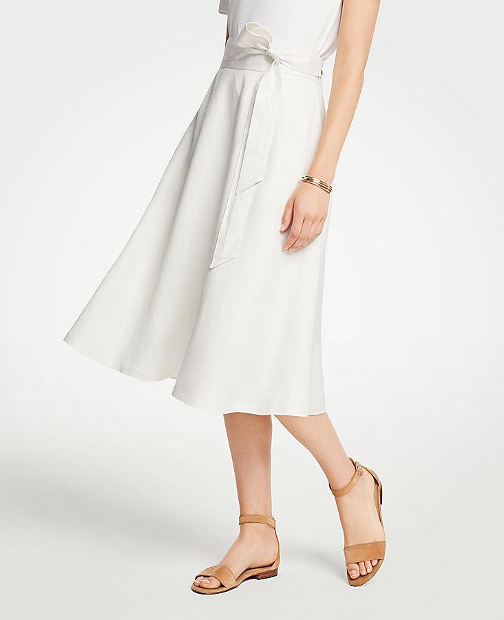 Petite Linen Blend Tie Waist Skirt