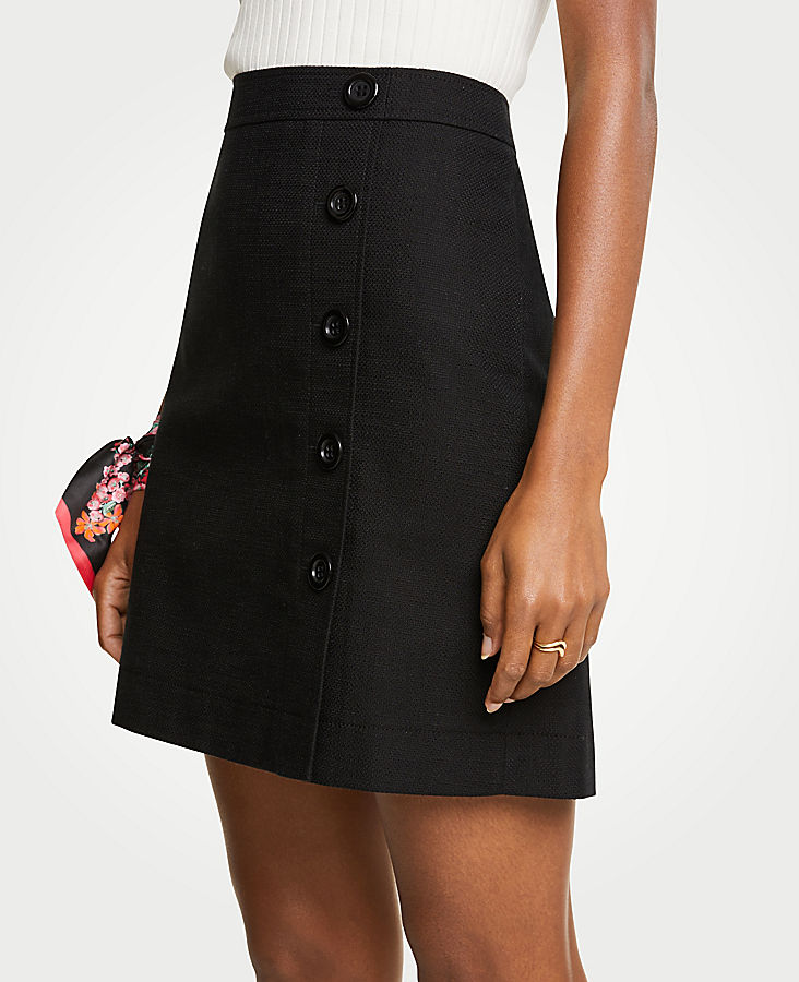 Button Textured A-Line Skirt | Tuggl