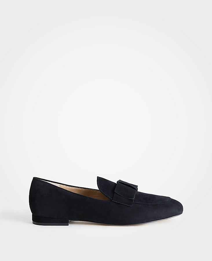 Adeline Suede Bow Loafers | Tuggl