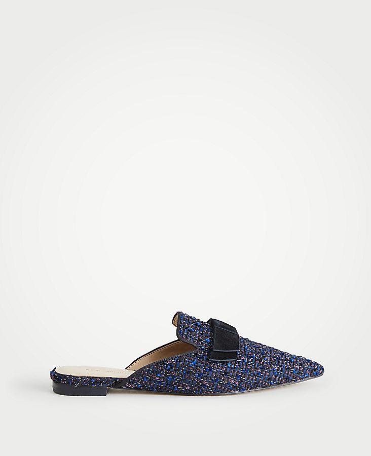 Elsie Tweed Bow Slides | Tuggl