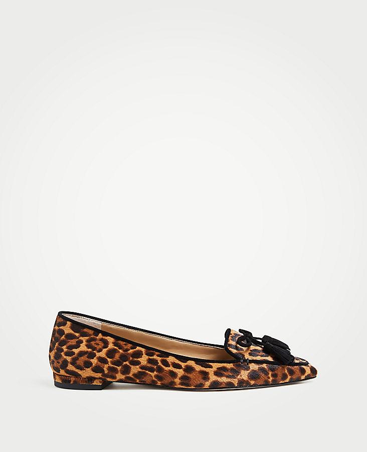 Ada Leopard Print Haircalf Tassel Flats | Tuggl