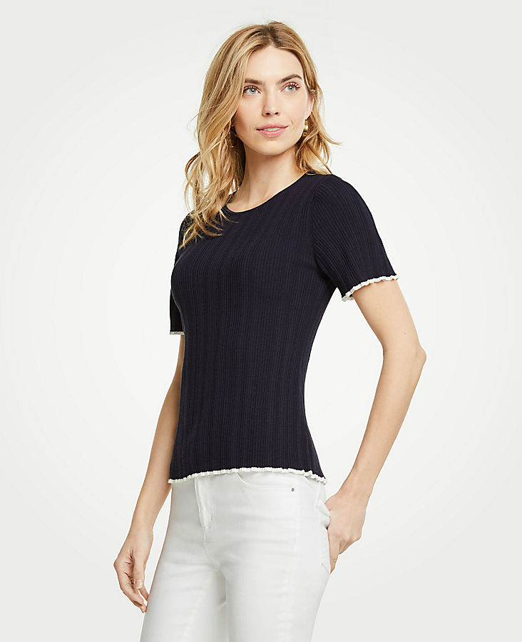 Tipped Ruffled Short Sleeve Sweater | Tuggl