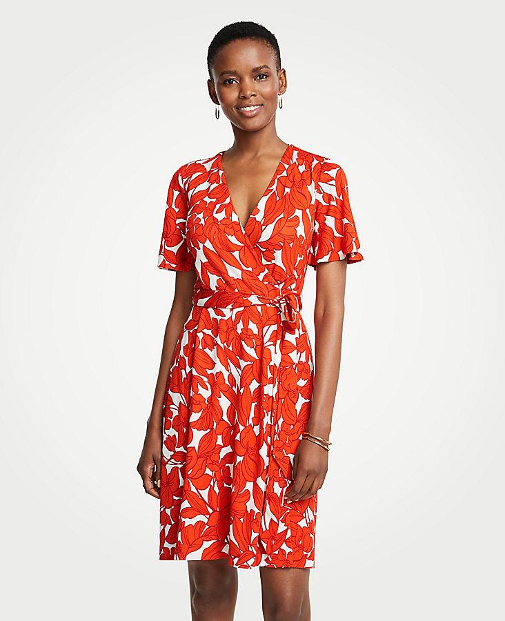 Petite Iris Flutter Sleeve Wrap Dress