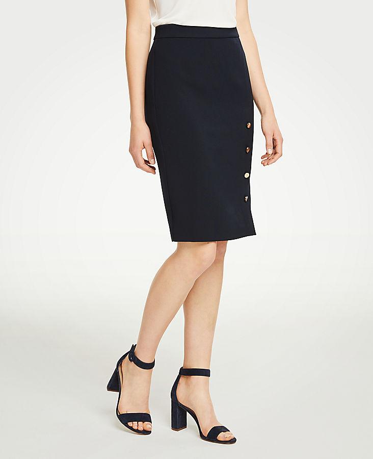 Petite Buttoned Pencil Skirt