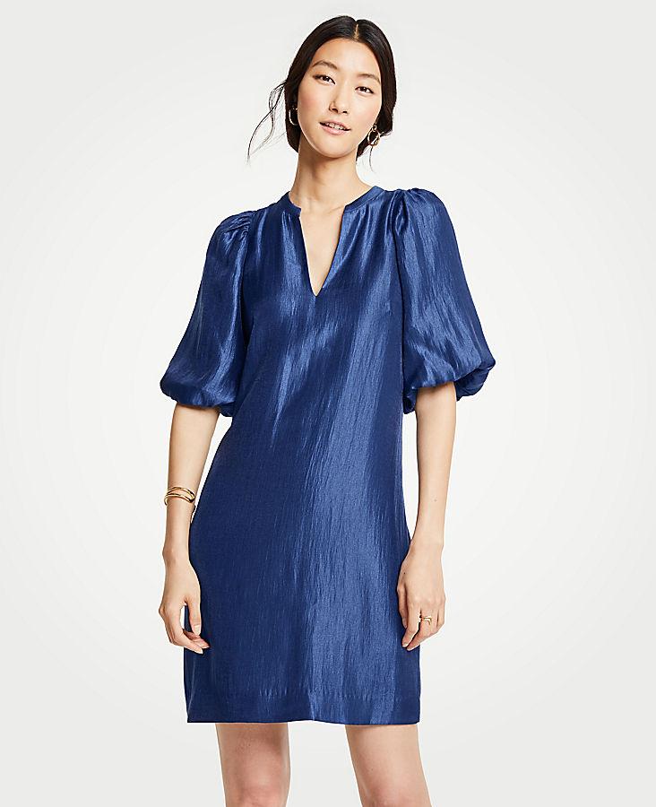 Petite Shimmer Puff Sleeve Shift Dress