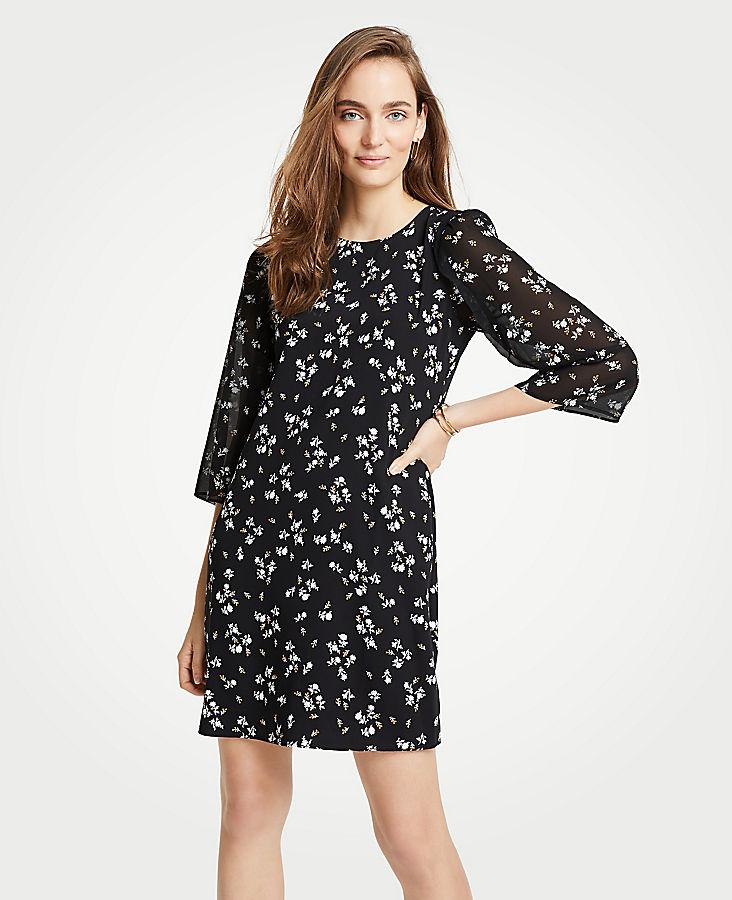 Petite Floral Chiffon Sleeve Shift Dress