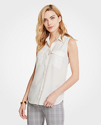 Ann Taylor Petite Sleeveless Camp Shirt