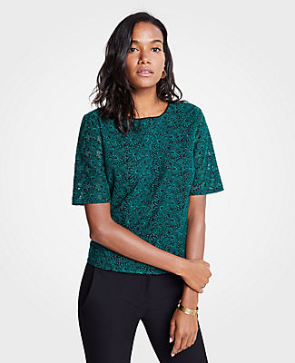 ANN TAYLOR EMBROIDERED LACE TOP