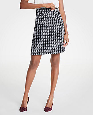 ANN TAYLOR PETITE HOUNDSTOOTH BUTTON TAB A-LINE SKIRT