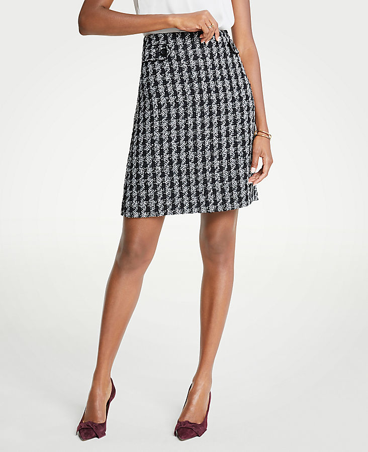 Petite Houndstooth Button Tab A-Line Skirt