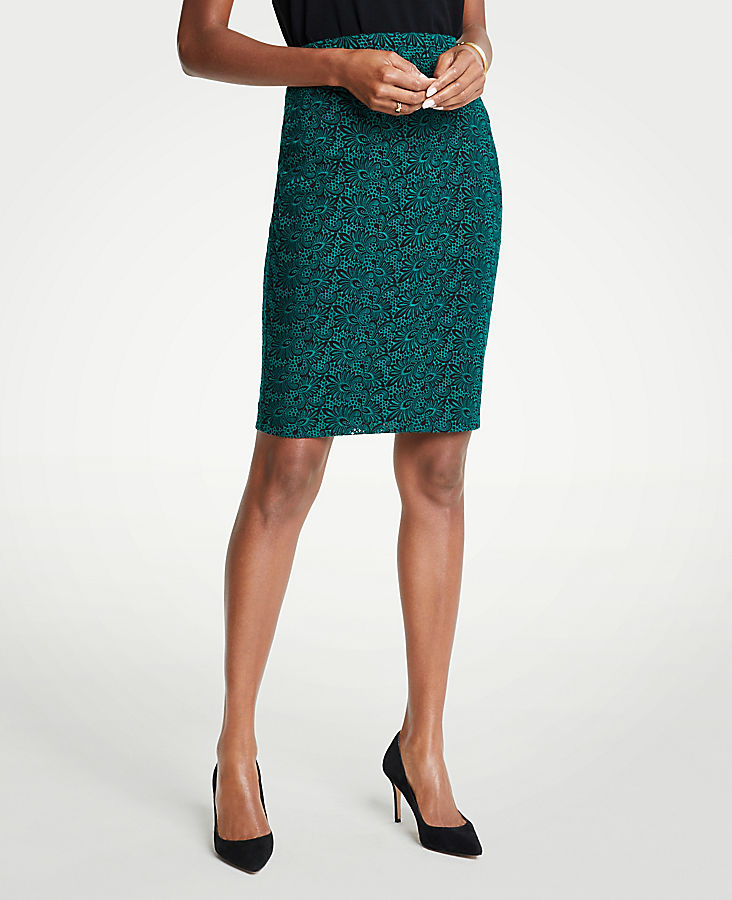 Petite Embroidered Lace Pencil Skirt