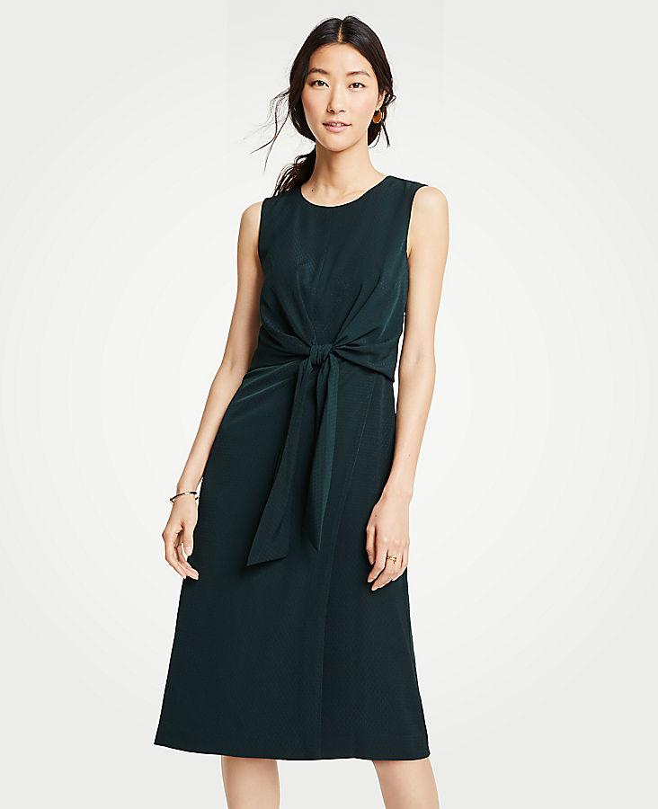 Petite Tie Front Midi Dress