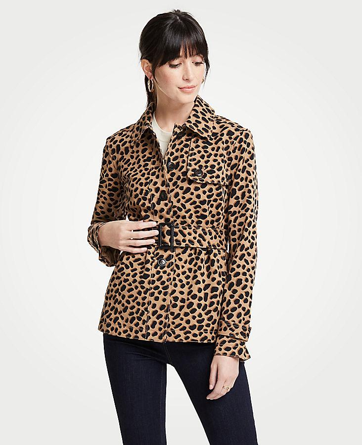 Petite Cheetah Dot Short Trench