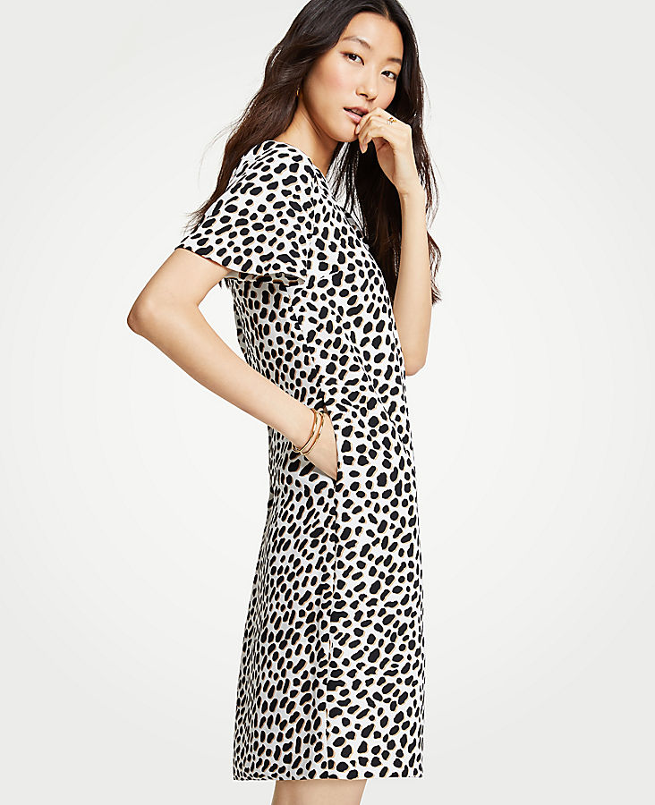 Petite Cheetah Dot Pocket T-Shirt Dress