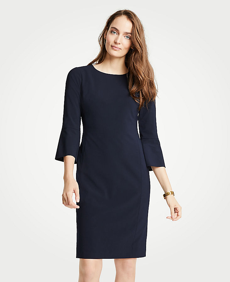 Petite Seasonless Stretch Fluted Sleeve Sheath Dress