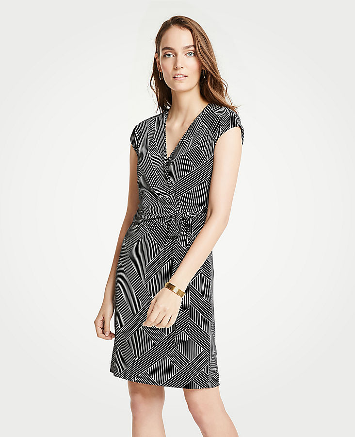 Tall Cross Stripe Cap Sleeve Wrap Dress | Tuggl