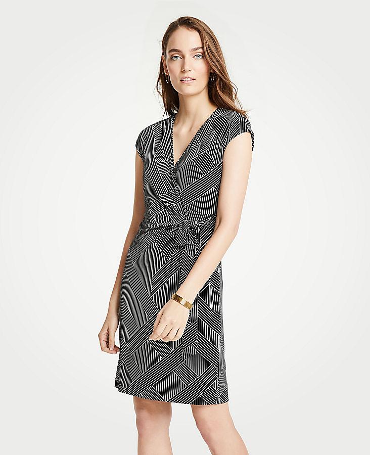 Petite Cross Stripe Cap Sleeve Wrap Dress